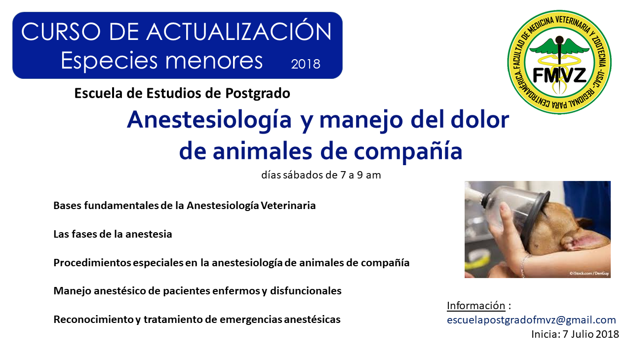 ANESTESIOLOGÍA Y MANEJO DEL DOLOR EN ANIMALES DE COMPAÑIA